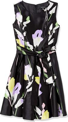 Nine West Women's Sleeveless Shantung Dress with sash