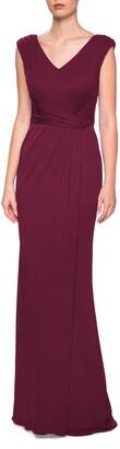 La Femme Jersey Column Gown