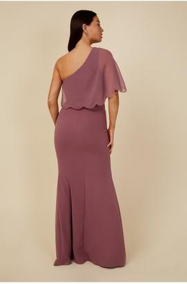 Little Mistress Bridesmaid Mariah Mauve Embellished One-Shoulder Maxi Dress