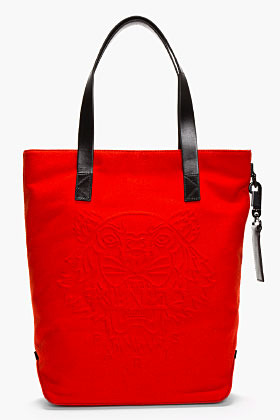 Kenzo Red wool tiger logo-embossed tote