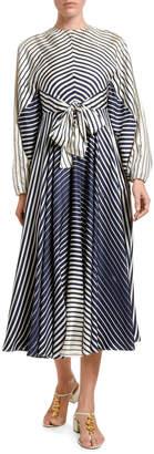 Valentino Engineer-Striped Silk Tie-Waist Midi Dress