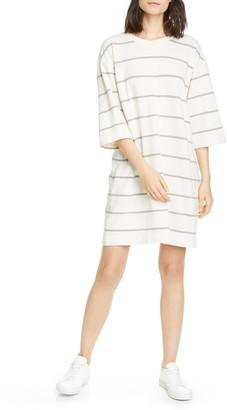 ATM Anthony Thomas Melillo Plaited Stripe Jersey Sweatshirt Dress