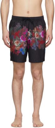 Dries Van Noten Black and Multicolor Floral Print Swim Shorts