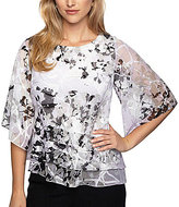 Alex Evenings Printed Tiered Chiffon Blouse