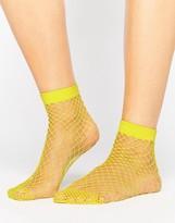Asos Oversized Fishnet Ankle Socks In Yellow