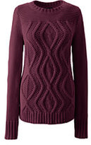 Classic Women's Petite Drifter Cotton Cable Sweater-Burgundy