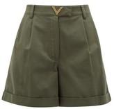 Valentino V-logo Cotton-gabardine Shorts - Womens - Dark Green