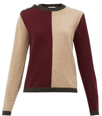 Ganni Crystal-button Block-colour Cashmere Sweater - Burgundy Multi
