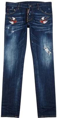 DSQUARED2 Cool Guy dark blue appliqued slim-leg jeans
