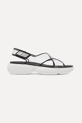 Prada Logo-embossed Rubber-trimmed Leather And Pvc Sandals - Black