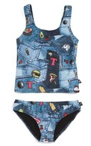 Girl's Terez Pocket Print Two-Piece Tankini Swimsuit