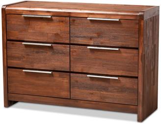 Baxton Studio Dillon Modern and Contemporary Brown Oak 6-Drawer Wood Dresser