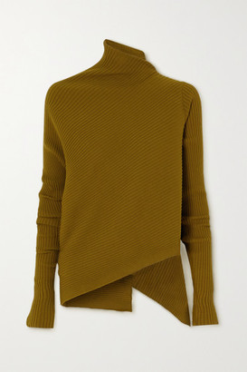 Marques Almeida Asymmetric Draped Ribbed-knit Sweater - Army green