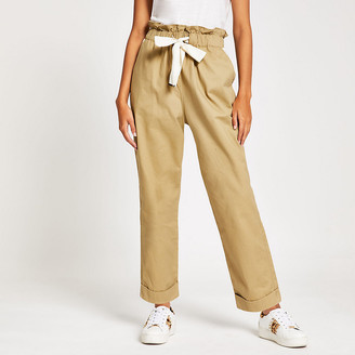 River Island Beige tie waisted utility trousers