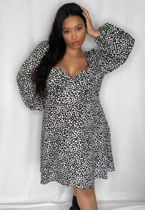 Missguided Plus Size Black Dalmatian Print Milkmaid Mini Dress