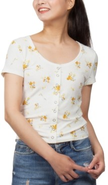 PINK ROSE Juniors' Floral-Print Snap-Front Cropped Top