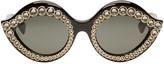 Gucci Black Crystal Cat Eye Sunglasses