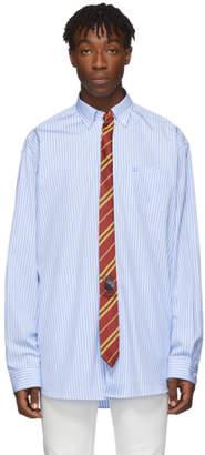 Vetements Blue and White Stripe Tie Shirt