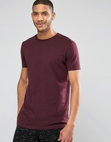 Asos Longline T-Shirt In Relaxed Skater Fit In Oxblood