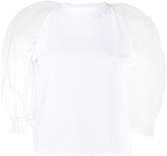 MSGM tulle cold shoulder T-shirt