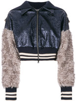 Aviu sequin and fur detailed cropped bomber jacket