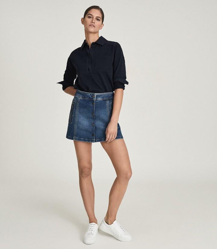 Reiss Kaleigh - Denim Mini Skirt in Mid Blue