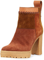 See by Chloe Whipstitched Suede Platform Bootie