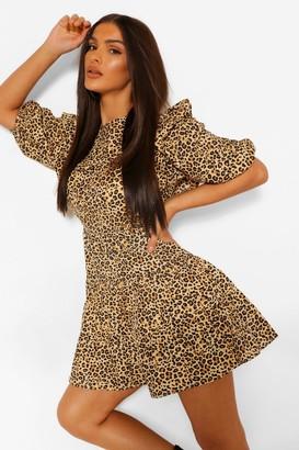 boohoo Leopard Print Ruffle Detail Mini Dress