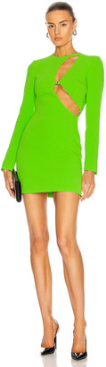 David Koma Asymmetric Cutout Mini Dress in Neon Green | FWRD