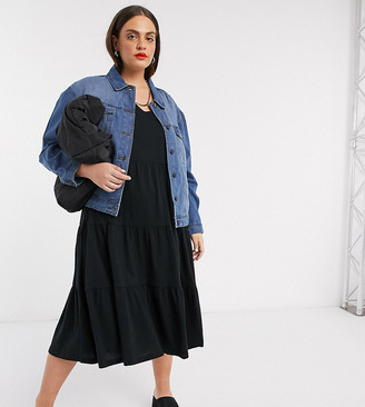 Noisy May Curve oversized denim jacket in mid blue