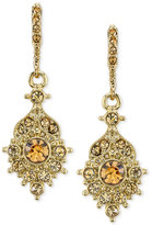 2028 Gold-Tone Imitation Topaz Crystal Drop Earrings