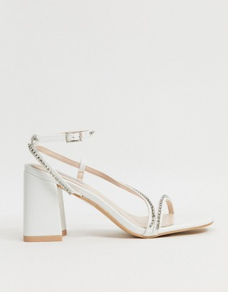 Be Mine Bridal Ambrose embellished strappy sandals in ivory satin