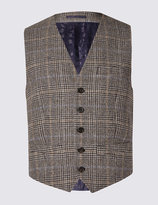 Marks And Spencer Pure Wool Checked Waistcoat With Buttonsafetm
