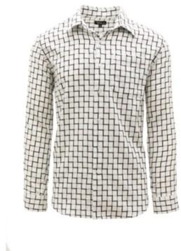 Galaxy by Harvic Men's Long Sleeve Slim-Fit Printed Cotton Dress Shirts
