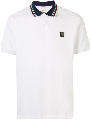Kent & Curwen Crest-Embroidered Striped Collar Polo Shirt