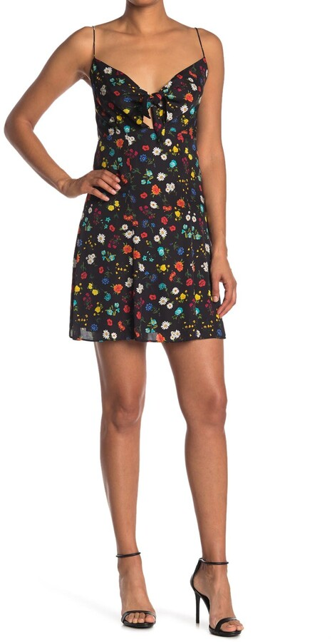 Alice + Olivia Roe Tie Front Floral Print Flare Dress