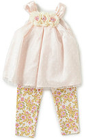Rare Editions Baby Girls 12-24 Months Dotted Mesh Dress & Floral Leggings Set
