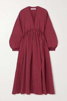 Nackiyé Nackiye - L'orient Gathered Cotton, Linen And Silk-blend Midi Dress - Burgundy