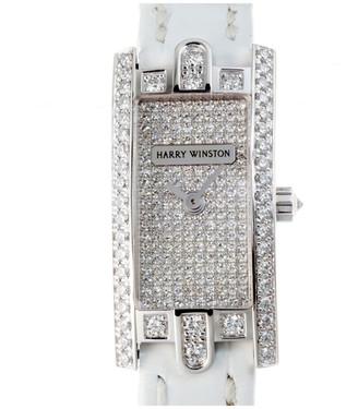 Harry Winston White 18K White Gold Diamond and Leather Avenue C 332Lqw Women's Wristwatch 16MM