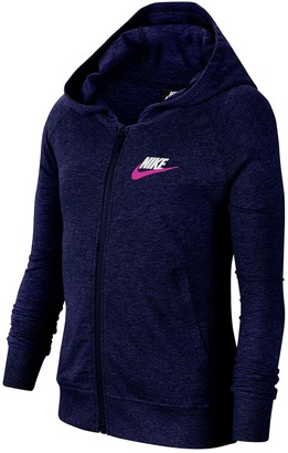 Nike Jersey Knit Zipper Sweatshirt (Big Girls)