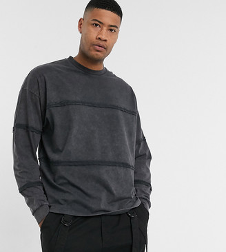 Asos DESIGN Tall oversized long sleeve t-shirt with seam details in black acid wash