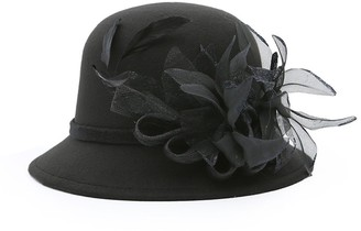 good01 Women Noble Gauze Feather Bowler Church Wedding Tea Party Formal Hat Bucket Hat (Black)