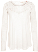 Fat Face Iona Lace Long Sleeve Top, Ivory