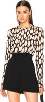 Proenza Schouler Ikat Leopard Tissue Jersey Long Sleeve Tee in Abstract,Black,Neutrals.