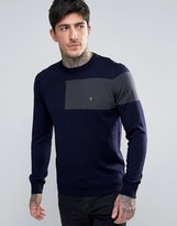 Farah Slim Panel Merino Knit Sweater in Navy