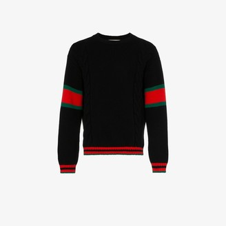 Gucci Cable Knit Web sweater