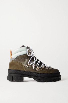 Ganni Sporty Hiking Leather And Suede Ankle Boots - Army green