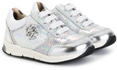 Roberto Cavalli logo metallic sneakers - kids - Leather/Pig Leather/rubber - 22