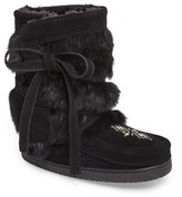Manitobah Mukluks Women's Beaded Short Wrap Genuine Rabbit Fur & Shearling Boot