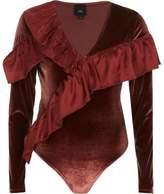 River Island Womens Rust orange velvet asymmetric frill bodysuit